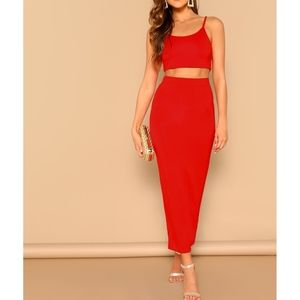Red Two Piece Crop Top Bodycon Skirt Set